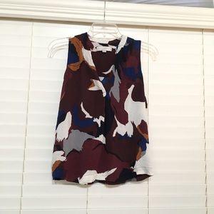 Ann Taylor Loft floral v neck tank blouse